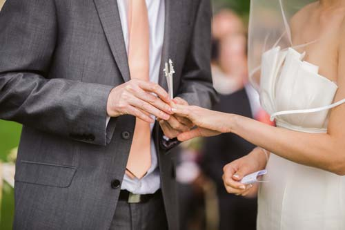 Detail photo of a guy putting a ring on a girl.